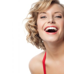 Woman smiling with chin out